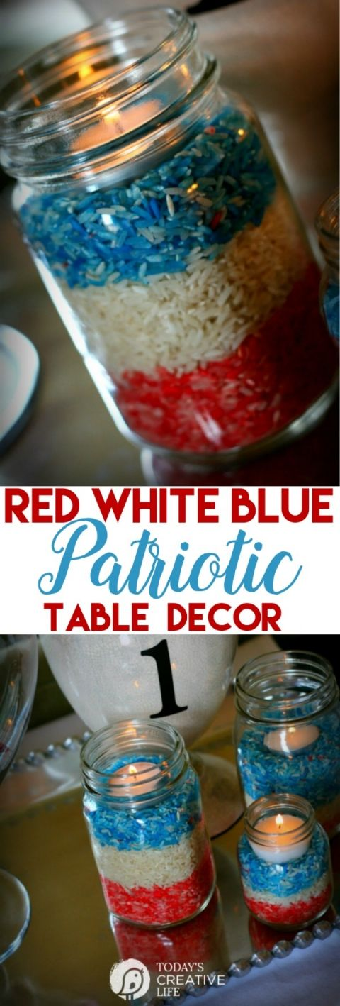 Memorial Day Craft - DIY Decor | Red White and Blue Table Decor for Memorial Day, Fourth of July or Labor Day! Coloring Rice is easy and the perfect kids craft. | See more on Today's Creative Life by clicking the photo.