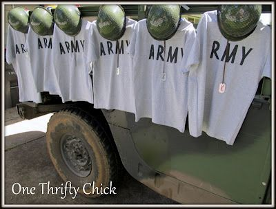DIY Shirts (though I would ask the parents which one the kids prefer to be...Marines, Navy, Airforce or Army?) Then put thier last name on the back & that will be part of their Party Favor)