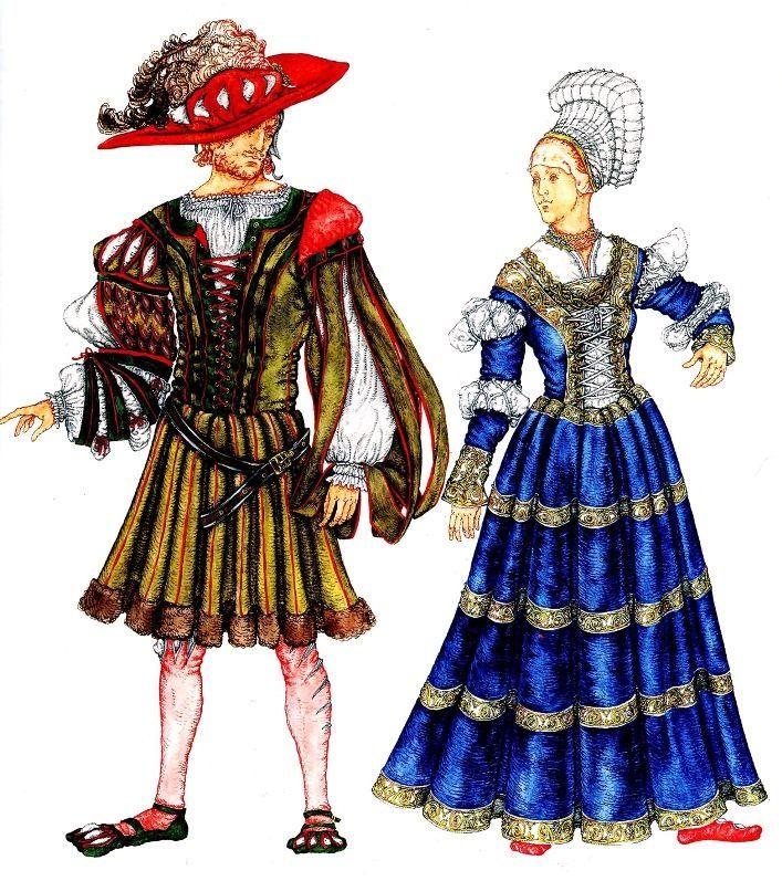 мужской и женский костюм Германии 16 века. слева: дворянин одетый по моде ландскнехтов справа: женщина в платье с саксонским воротником