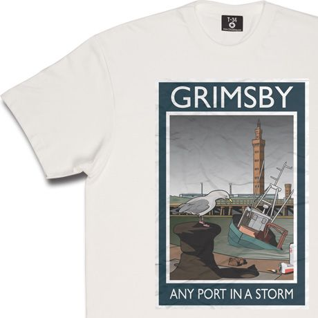 Grimsby: Any Port In A Storm T-Shirt. Surrounded by the detritus of modern seaside life, a lone seagull picks it way...