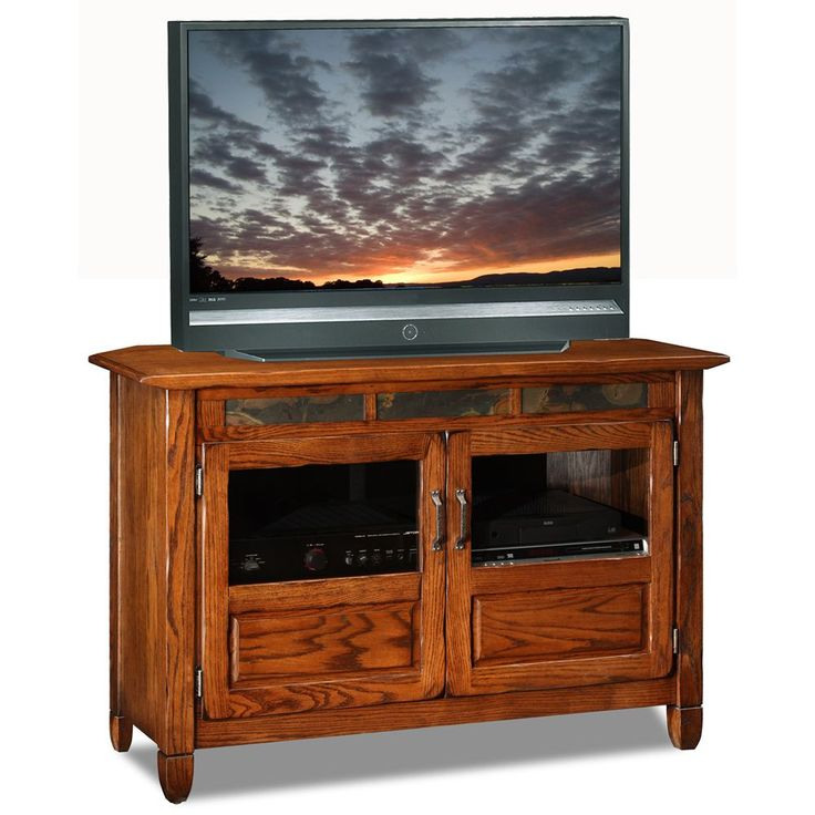 Material: Ash and oak veneersFinish: Distressed rustic autumnDimensions: 30 inches high x 46 inches wide x 18 inches deep
