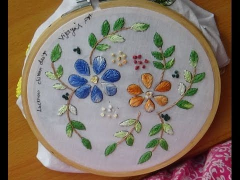 Hand Embroidery Designs # 165 - Lucknow Chikan designs - YouTube