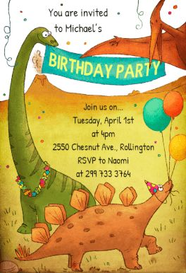 Dinosaurs Birthday Party printable invitation template. Customize, add text and photos.  Print, download, send online or order printed!