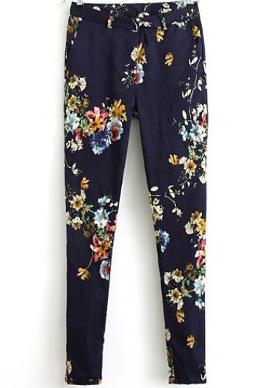 Blue Floral Pockets Casual Pant - Sheinside.com