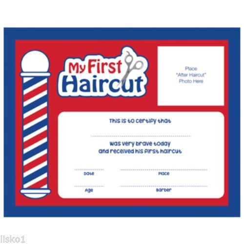 """Barber Shop My First Haircut"""" Certificates / 12 Pack 10""""W 8 H #SC-MFH"""