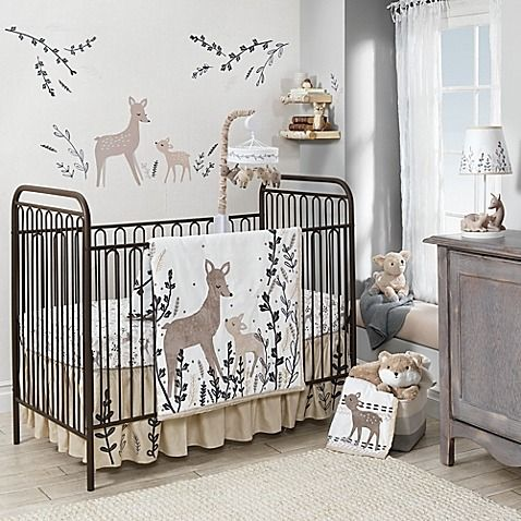 Create an enchanting forest for your little one to rest their head in with the Meadow Deer Crib Collection from Lambs & Ivy. The charming bedding set includes a comforter, fitted sheet, and crib skirt.
