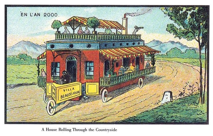 Them, 1900: A house rolling through the countryside // Us, 2013: Mobile caravan homes now include central heating, double glazing and flat screen TVs // From: The Public Domain Review