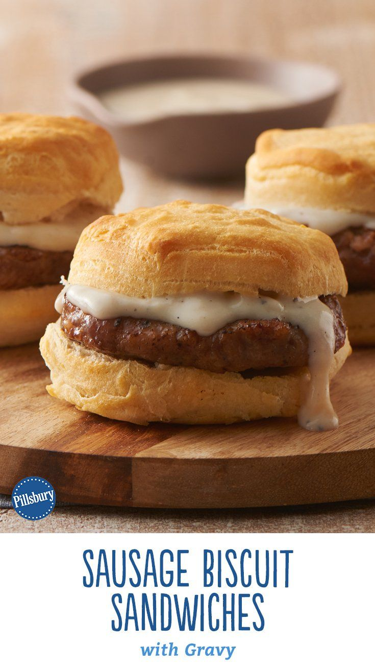 The iconic Southern breakfast of biscuits and gravy gets an updated twist with these easy biscuit sandwiches, smothered in gravy and made complete with warm, tender sausage patties. Expert tip: The gravy will be slightly thick to allow spooning inside of the biscuits.