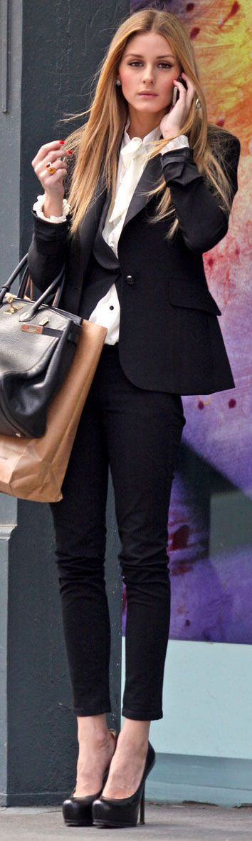 Olivia Palermo: corporate edge, cropped pants, platform shoes. Great for a creative corporate space.