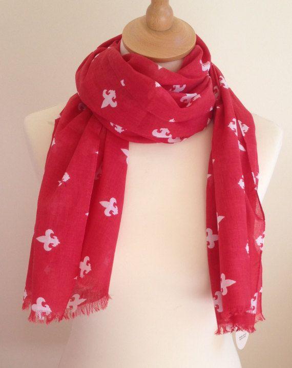 Red fleur de Lis scarf  red fleur de Lys wrap  red scarf
