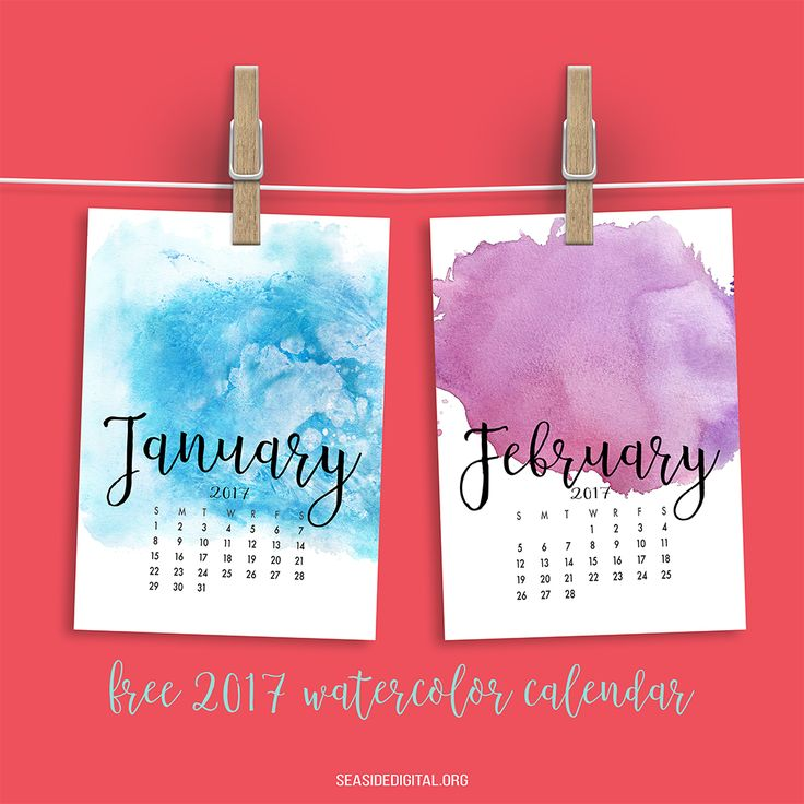 2017 Watercolor Calendar by Sinziana Romanescu