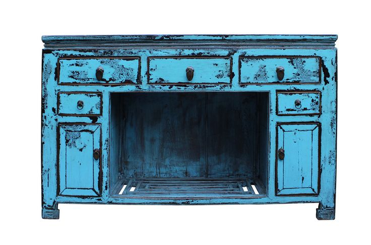 Oriental Distressed Rustic Blue Credenza Sideboard Buffet Table Cabinet cs2346S