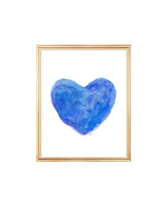 Blue Wall Decor Royal Blue Art Watercolor by OutsideInArtStudio