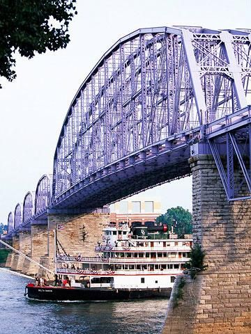 Purple People Bridge.  Walk across the river to Newport Landing entertainment center.  15 Top Attractions in Cincinnati | Midwest Living