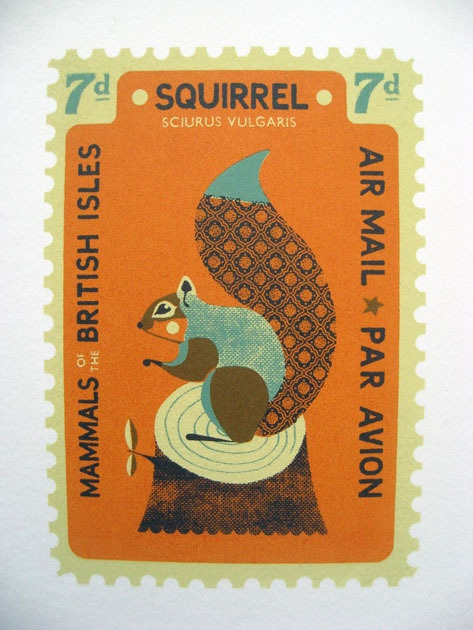 Royal Mail - Mammals of the British isles Stamps, The Squirel. Design by Tom Frost
