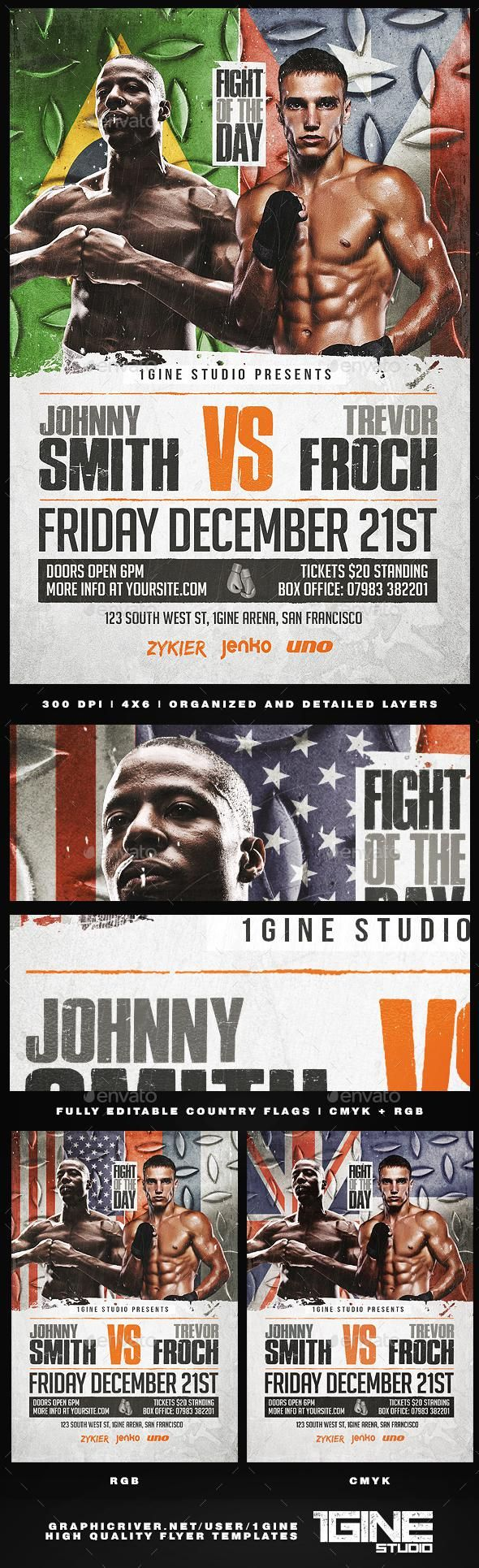 Boxing Flyer Template 2 Graphicriver Flyer Sport Flyertemplate