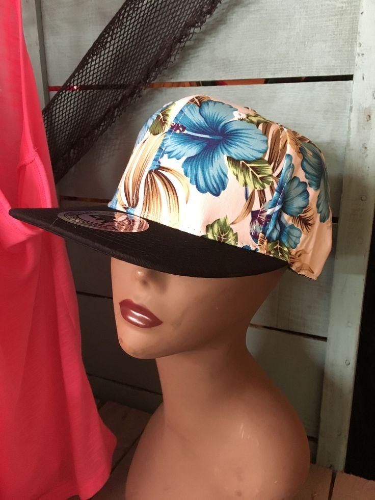 Hawaiian Print Snapback Hat- Blue Hibiscus