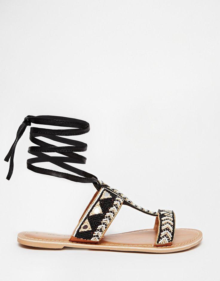 Image 2 - New Look - Fizz Wizz - Sandales plates en cuir à nouer avec motif tribal - Noir