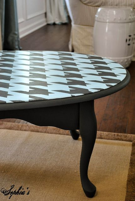 When you see a less than perfect coffee table (in the ReStore), this will help you imagine the possibilities: Sophia's houndstooth coffee table.: