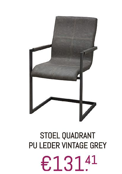 #Stoel #PUleder #Quadrant #Vintage #grijs