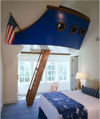 This is the most amazing little boys' room if we were to do a nautical theme, I love the idea of an overhead fort for any little boys room though, just like a treehouse! definitely a good idea!