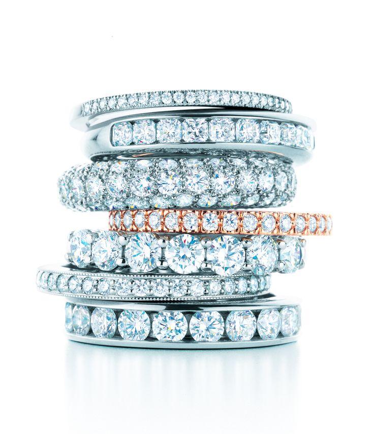 Rock bands. Tiffany rings in platinum with diamonds. #TiffanyPinterest #WeddingBands- Gosh those diamonds!!