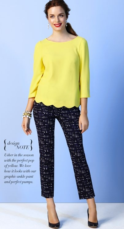 Yellow scalloped top please! via @Ann Taylor #fashion #style