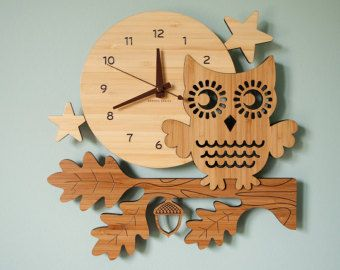 Bamboo Fox Wall Clock: Wood Animal Kids Clock by graphicspaceswood