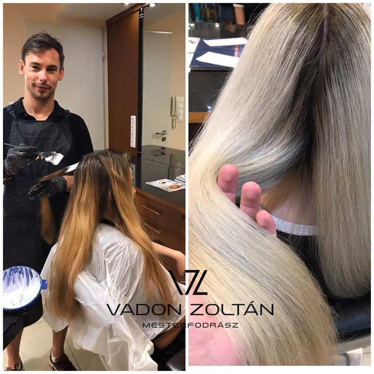 """59 kedvelés, 2 hozzászólás – Vadon Zoltán (@vadon.zoltan) Instagram-hozzászólása: """"Ismét egy szép nap. Különleges hajat alkottunk ma, egy kedves hölgynek. Matrix Light Master 9%…"""""""