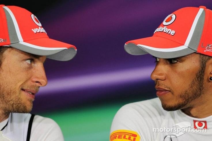 Jenson Button & Lewis Hamilton at the post-qualifying press conference at the Malaysian Grand Prix. F1 Grand Prix http://VIPsAccess.com