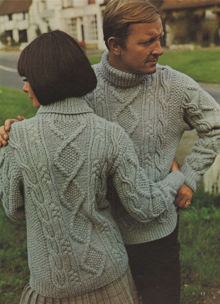 PDF His & Hers Cabled Sweater Knitting Pattern : Womens or Mens 34, 36, 38, 40 and 42 inch bust or chest . Instant Digital Download by PDFKnittingCrochet on Etsy