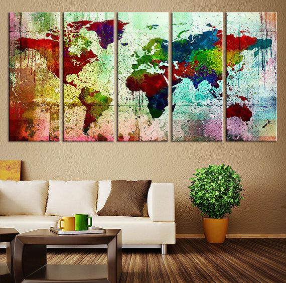 Canvas Art Print Watercolor World Map Large by ExtraLargeWallArt
