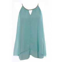 Womens Ladies Gold Chain Neckline Flared Top Jade 8 10 12 14 BUY IT NOW £13.00 at www.fuchia.co.uk