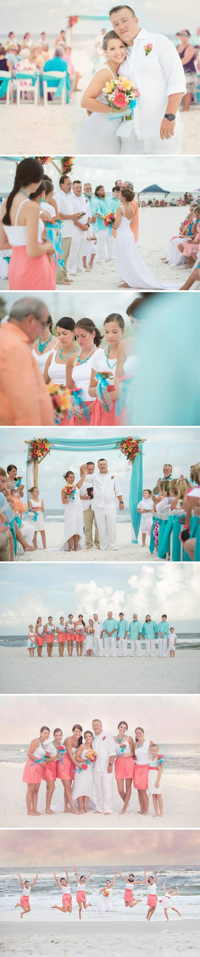 Coral bridesmaid skirts with turquoise necklaces by Frill