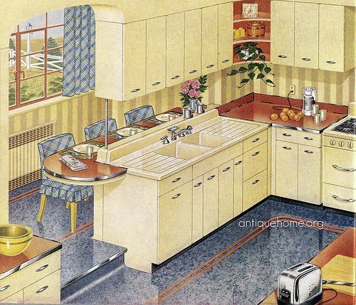 Blue And Yellow Kitchen 148 best vintage kitchen images on pinterest | retro kitchens