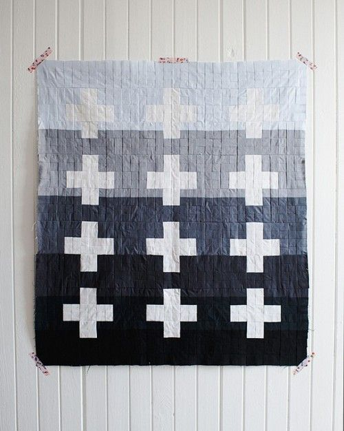 I would love to make this with a similar color gradation but crazy bright colored crosses!
