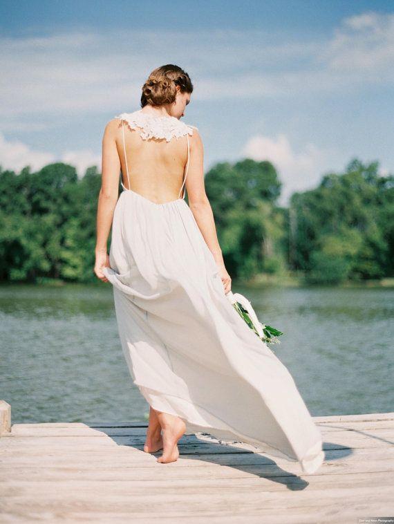 Low Back Chiffon Wedding Dress Silk Chiffon and by JillianFellers