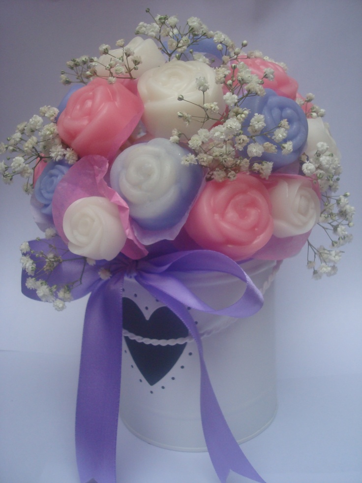 An amazing soap bouquet by us, fragranced with Rose, Lavender & Amber and Cherry Blossom FOs