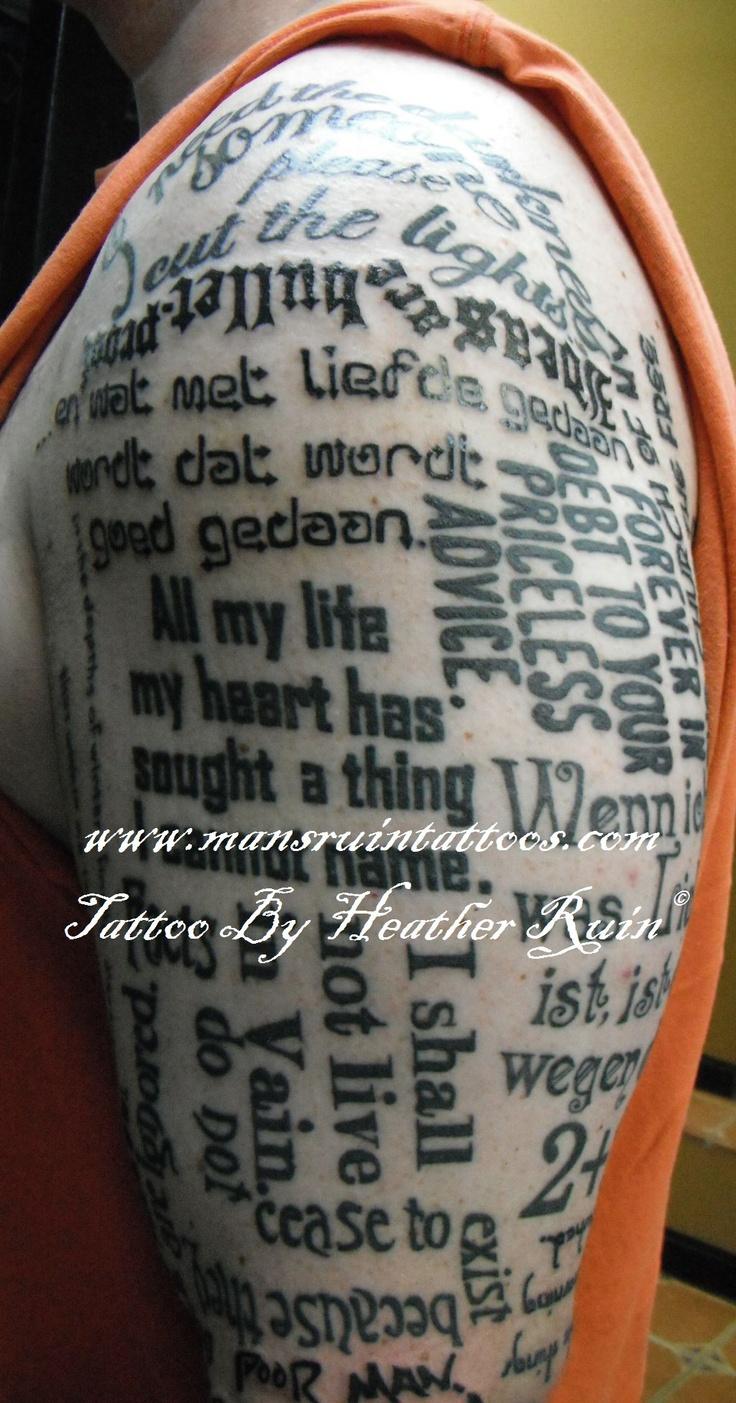 Henna tattoo charleston sc - Half Sleeve Of Words Phrases Tattoo By Heather Ruin Mans Ruin Tattoo Asheville Nc