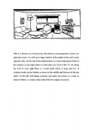 English worksheet: Picture Dictation of a Room