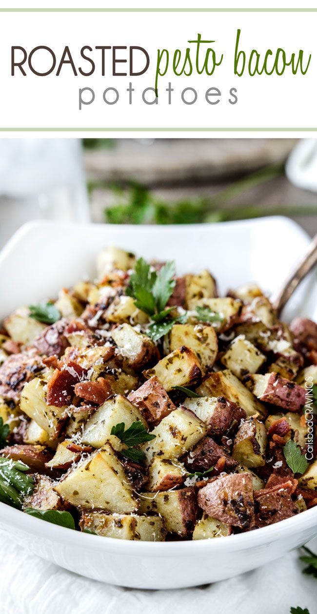 Roasted Pesto Bacon Potatoes will blow your mind with their tender, explosive flavor AND ease! Impressive side for special occasions (think Father's Day) but so easy you'll be making these at least on