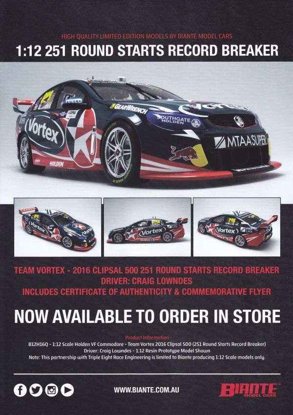 Pre Order 1:12 scale Craig Lowndes #888 Team Vortex Holden VF Commodore 2016 Adelaide Clipsal 500 (251 Round Starts Record Breaker). This is a sealed resin model, it has no opening parts. Comes with certificate of authenticity. This model is due 4th quarter of 2017.