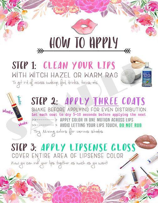 "LipSense ""How To Apply"" Graphic available for download or have it customized with your LipSense branding. #lipsense #howtoapplylipsense"