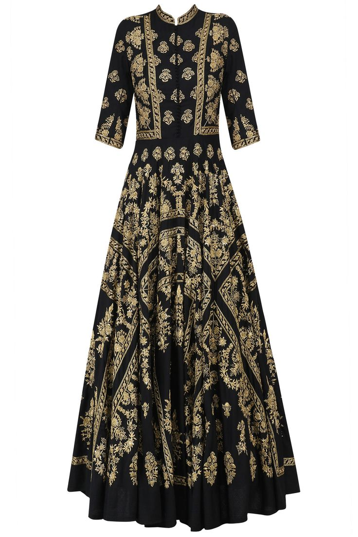 Black and gold hand embroidered anarkali dress available only at Pernia's Pop Up Shop.
