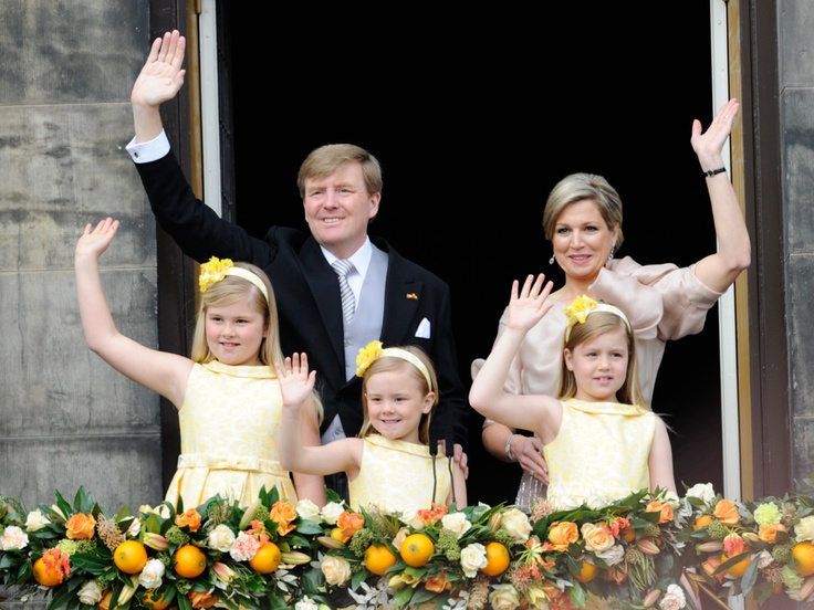 Dutch Royal family : King Willem-Alexander, Queen Maxima, Princess of Orange Amalia, Alexia and Ariane in Amsterdam (April 30, 2013) - The Netherlands #inauguration