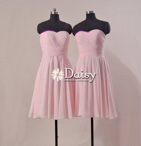 Strapless Bridesmaid Dress,Short Rosy Pink Chiffon Dress,Pale Pink Dress,Pink Bridal Party Dress,Light Pink Formal Dress,Party Dress(MY061) on Etsy, $85.00