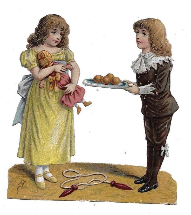 Victorian Die Cut Scrap Boy with Girl holding Doll: