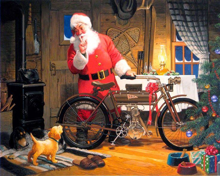 Motoblogn: Tom Newsom - Motorcycle Santa Art | Santa art ...