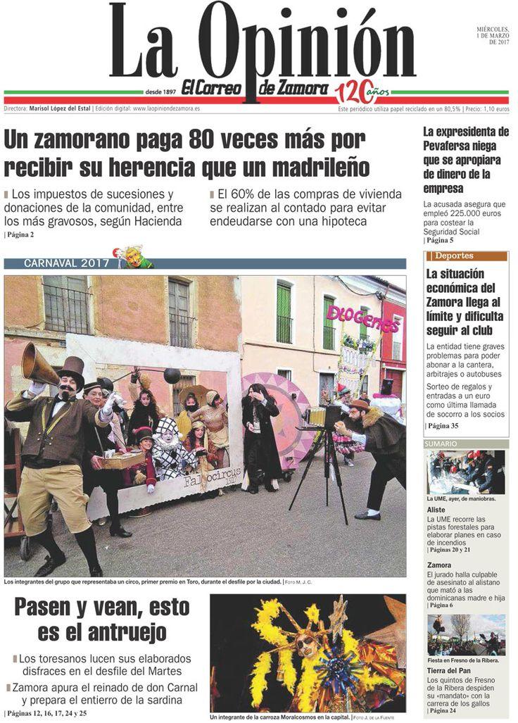Portada de La Opinión-El Correo de Zamora del 01/03/2017. Más noticias en www.laopiniondezamora.es