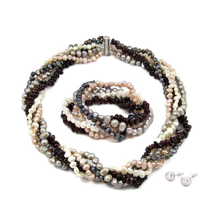 Set Orchira Dans Argintiu de Perle și Granate (cercei,colier, brățară)